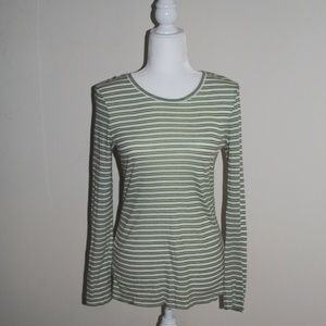 Tory Burch 100% Cotton Green and White Stripe Top